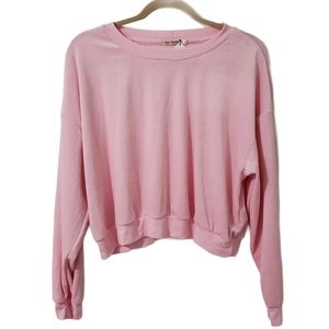 NWT Pink Ribbed Soft Chenille Cropped Long Sleeve